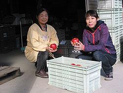 りんごを持つ高野寛子さん