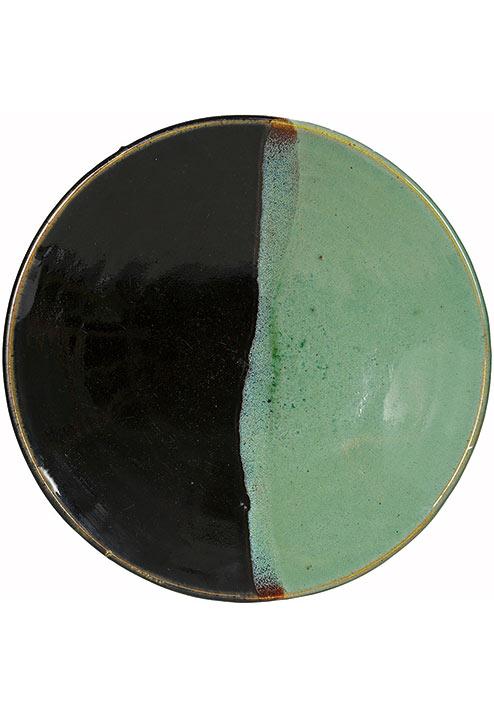 《緑黒釉掛分皿》鳥取県・牛ノ戸 1930年代 日本民藝館